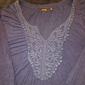 Navy Blue shirt with lace detail